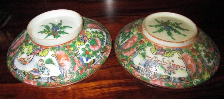 Chinese Qing Rose Medallion Porcelain Lidded Soup Rice Bowls with Saucers Set For Sale 4