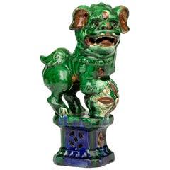 Chinese Qing Sancai Glazed Pottery Dog of Foo Incense Holder