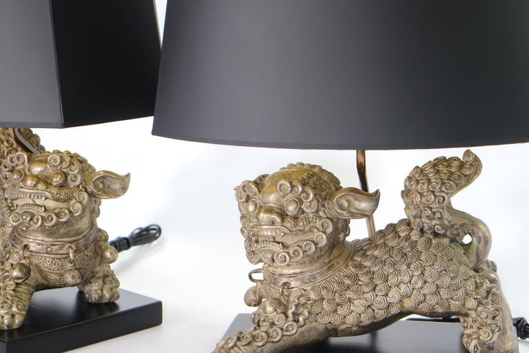 Chinese Qing Silver Plated Bronze Foo Dog Table Lamps For Sale 4