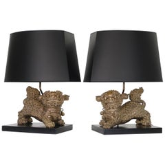 Chinese Qing Silver Plated Bronze Foo Dog Table Lamps