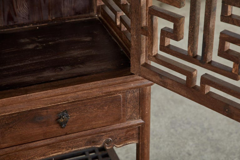 Chinese Qing Style Open Fretwork Kitchen Cabinet For Sale 7