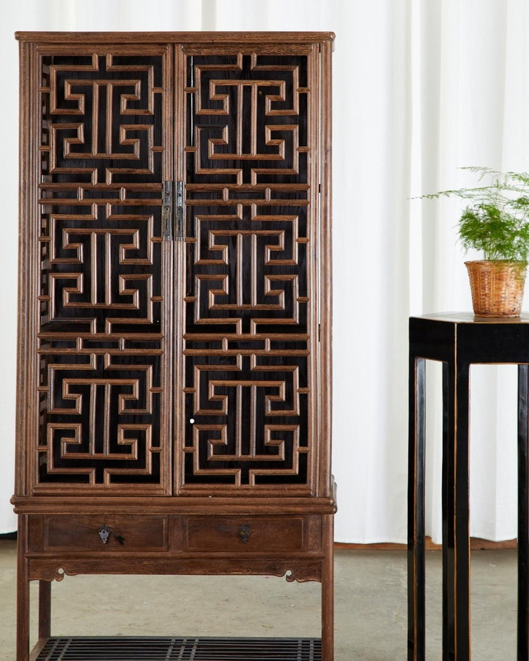 Chinese Qing Style Open Fretwork Kitchen Cabinet For Sale 8