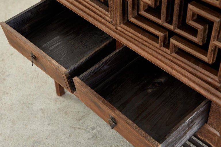 Chinese Qing Style Open Fretwork Kitchen Cabinet For Sale 12