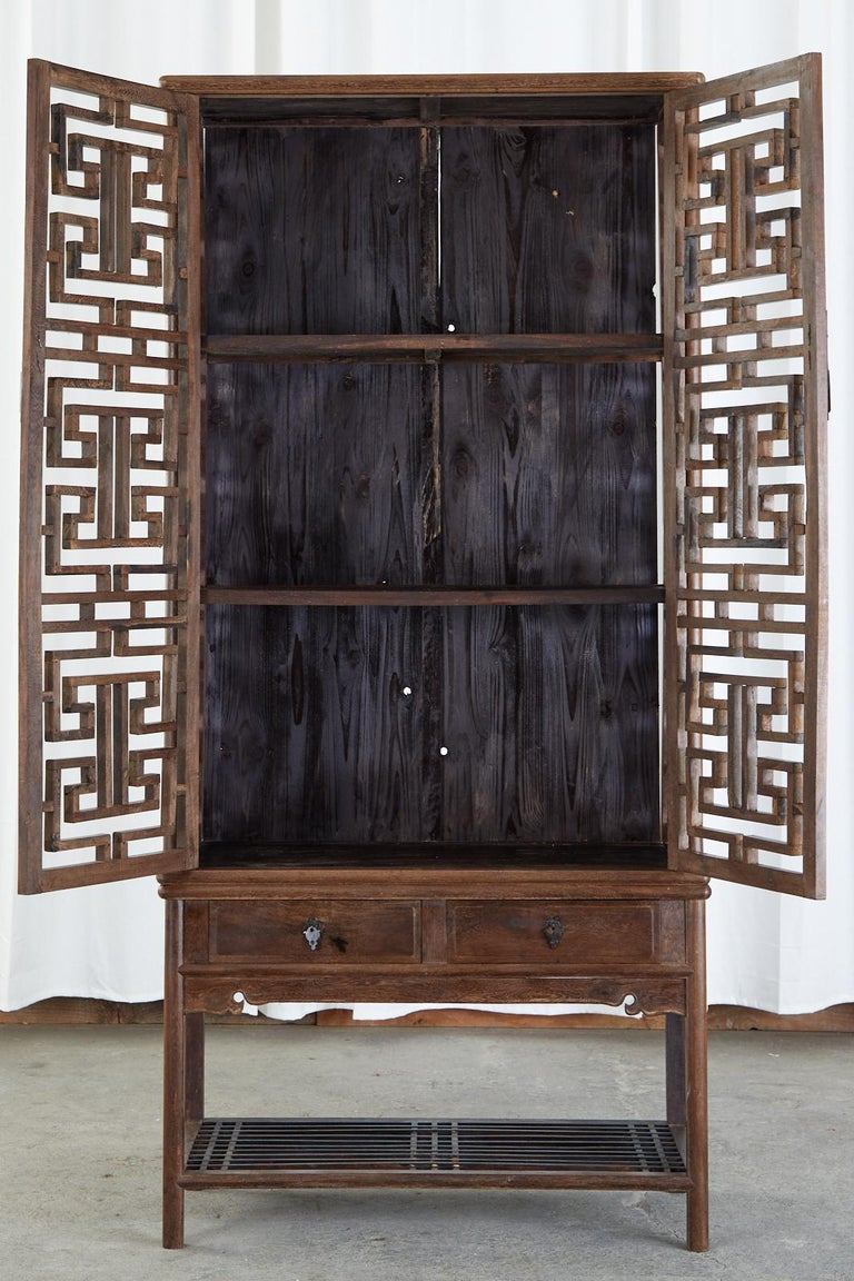 Hand-Crafted Chinese Qing Style Open Fretwork Kitchen Cabinet For Sale