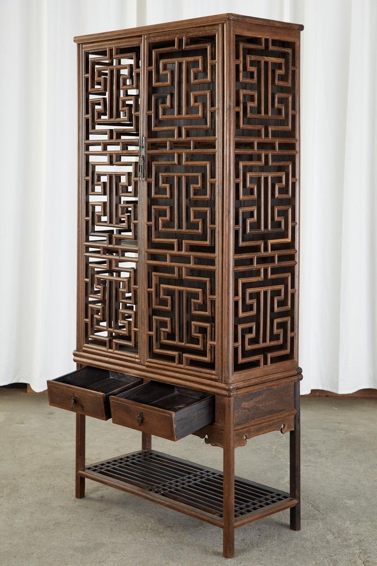 20th Century Chinese Qing Style Open Fretwork Kitchen Cabinet For Sale
