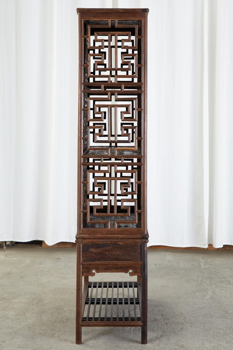 Brass Chinese Qing Style Open Fretwork Kitchen Cabinet For Sale