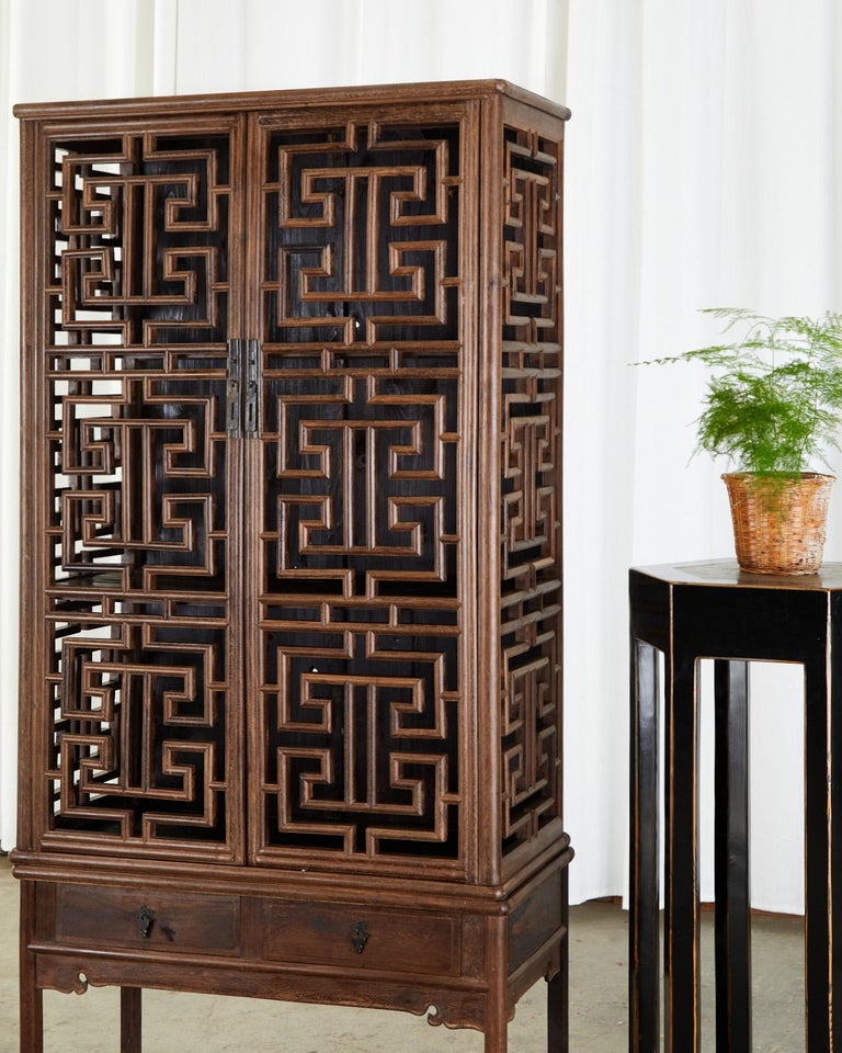 Chinese Qing Style Open Fretwork Kitchen Cabinet For Sale 2