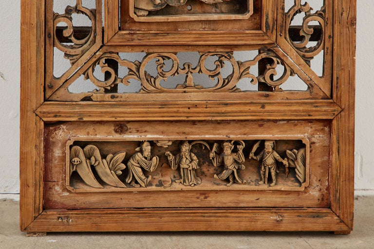 Chinese Qing Style Relief Carved Window Panel For Sale 4