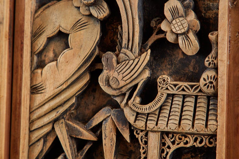 Chinese Qing Style Relief Carved Window Panel For Sale 6