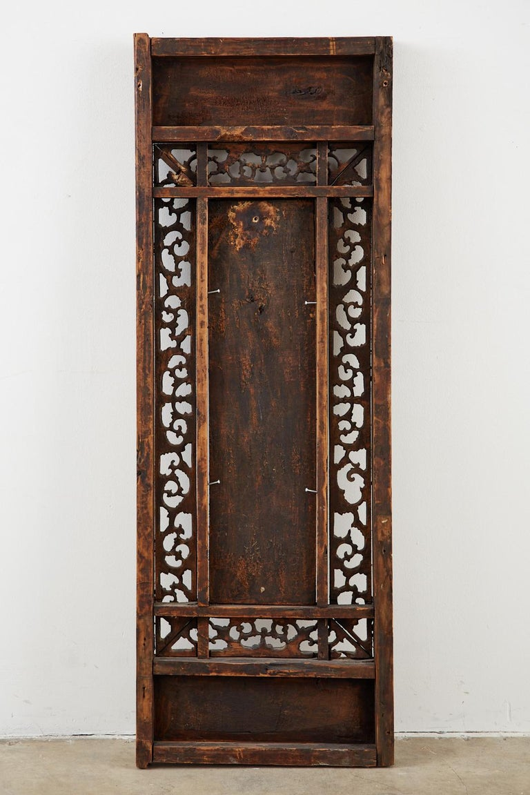 Chinese Qing Style Relief Carved Window Panel For Sale 14