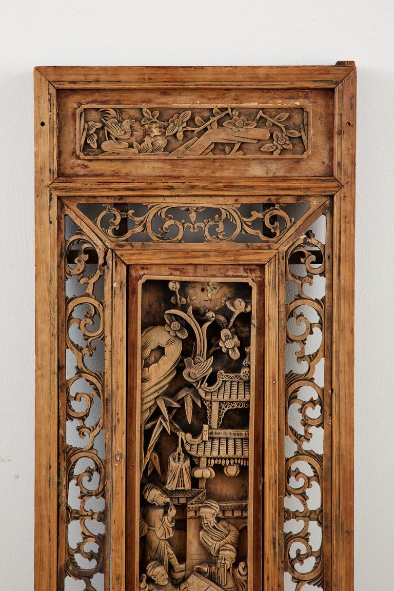 Hand-Carved Chinese Qing Style Relief Carved Window Panel For Sale