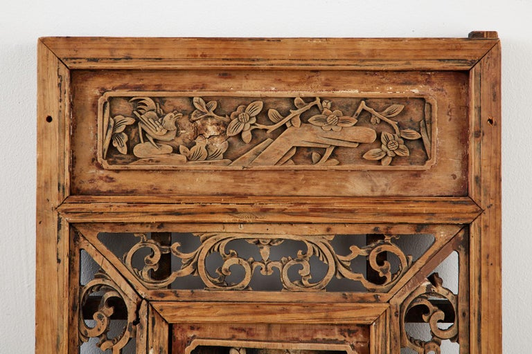 20th Century Chinese Qing Style Relief Carved Window Panel For Sale