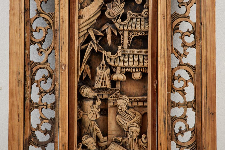 Chinese Qing Style Relief Carved Window Panel For Sale 1