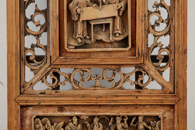 Chinese Qing Style Relief Carved Window Panel For Sale 3