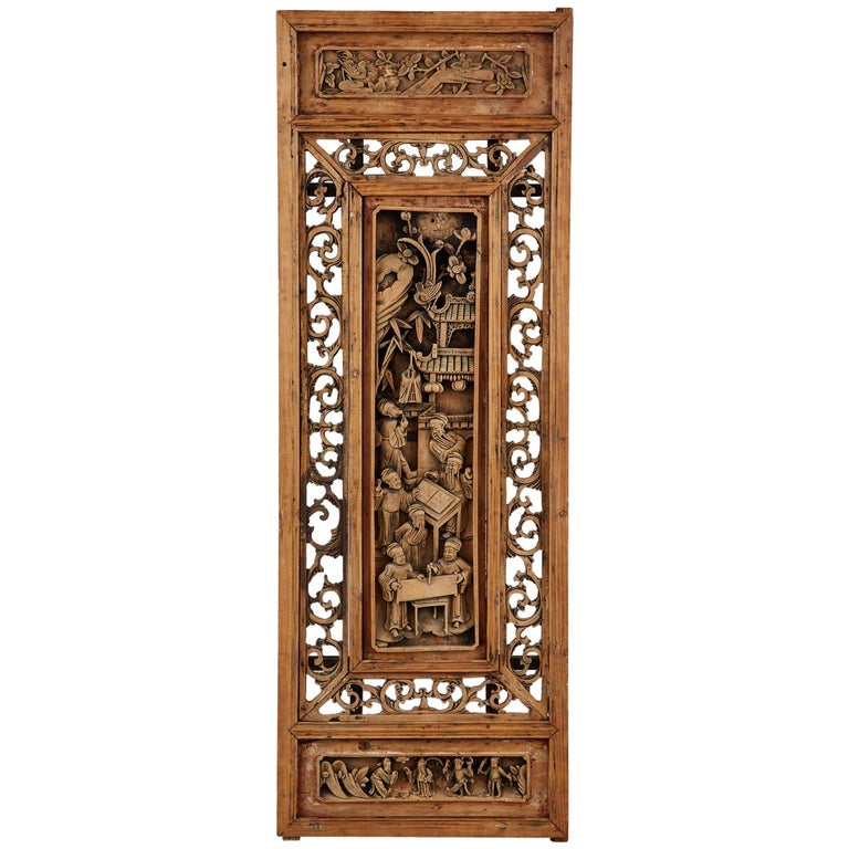 Chinese Qing Style Relief Carved Window Panel For Sale