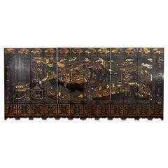 Chinese Qing Twelve Panel Lacquered Coromandel Screen