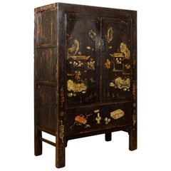 Chinese Qing Two-Door Cabinet with Chinoiserie and Original Black Lacquer