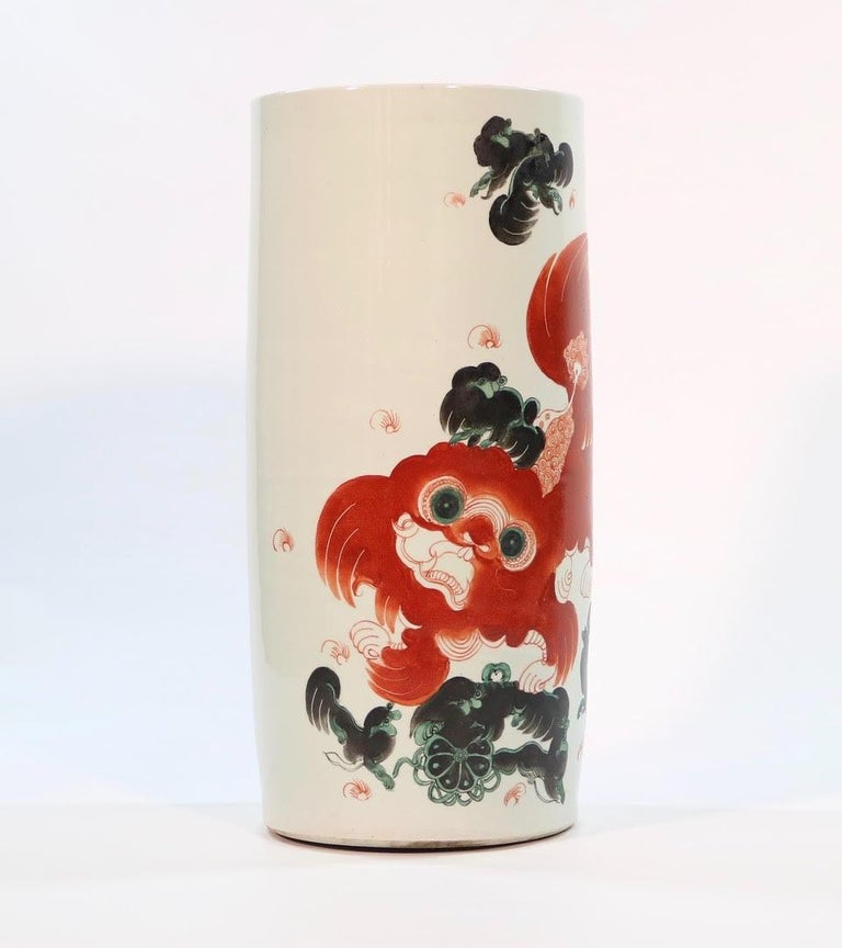 Qing Chinese Quing Porcelain Umbrella Holder with Foo Dog Motif For Sale
