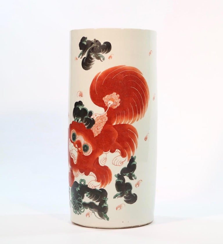 19th Century Chinese Quing Porcelain Umbrella Holder with Foo Dog Motif For Sale