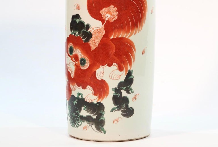 Chinese Quing Porcelain Umbrella Holder with Foo Dog Motif For Sale 1