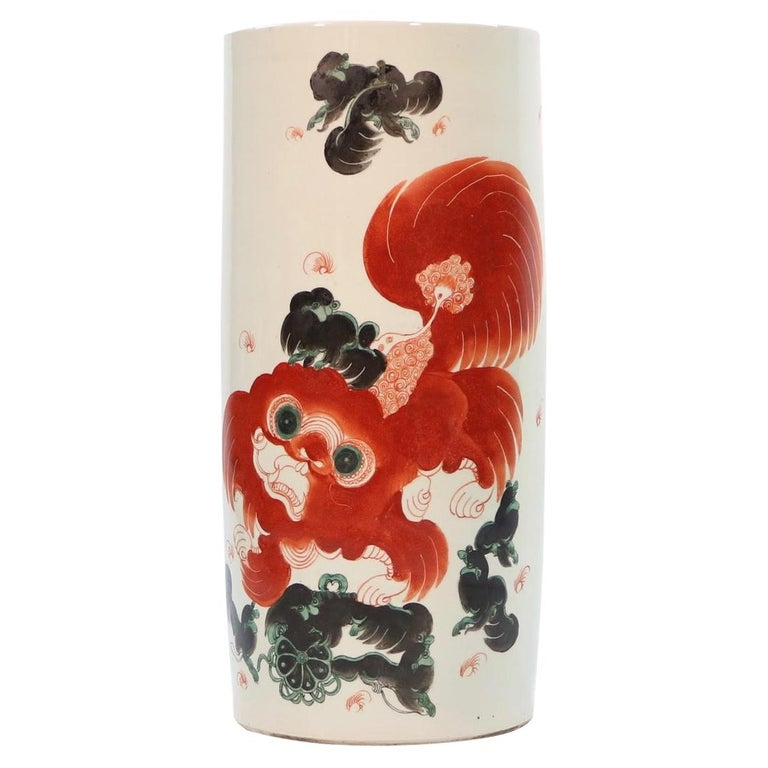 Chinese Quing Porcelain Umbrella Holder with Foo Dog Motif For Sale