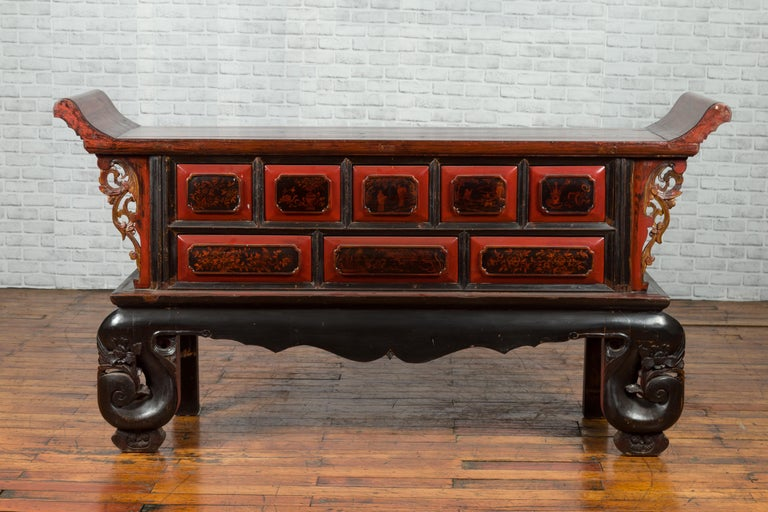 Carved Chinese Red and Black Lacquered 19th Century Altar Coffer Table with Chinoiserie For Sale