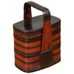 Chinese Red and Black Lacquered Tiered Lunch Box with Handle and Calligraphy
