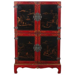 Chinese Red and Black Lacquered Two-Door Cabinet