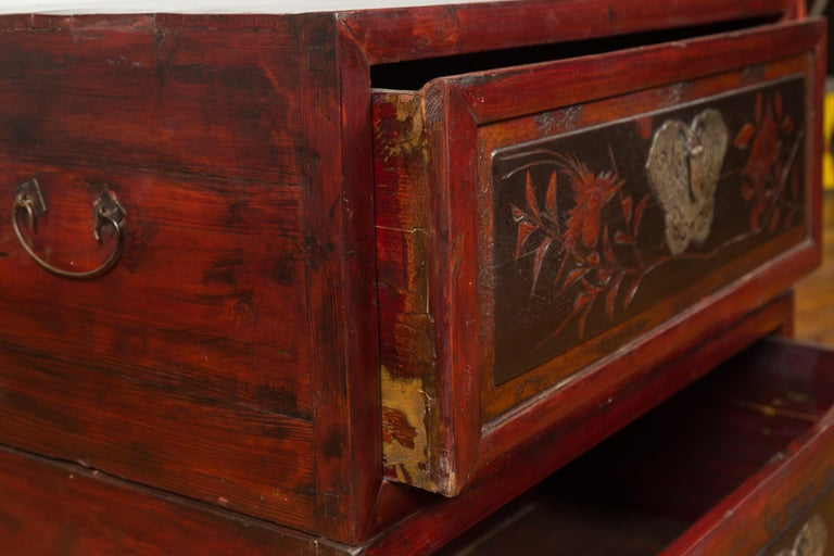Chinese Red and Black Lacquered Two-Part Storage Cabinet with Bronze Hardware For Sale 6