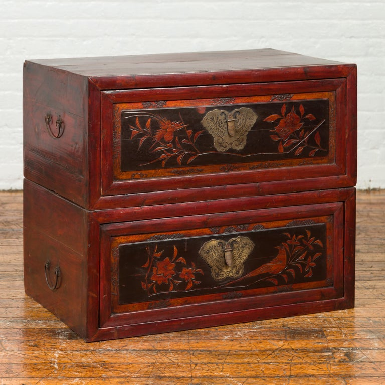 Chinese Red and Black Lacquered Two-Part Storage Cabinet with Bronze Hardware For Sale 7