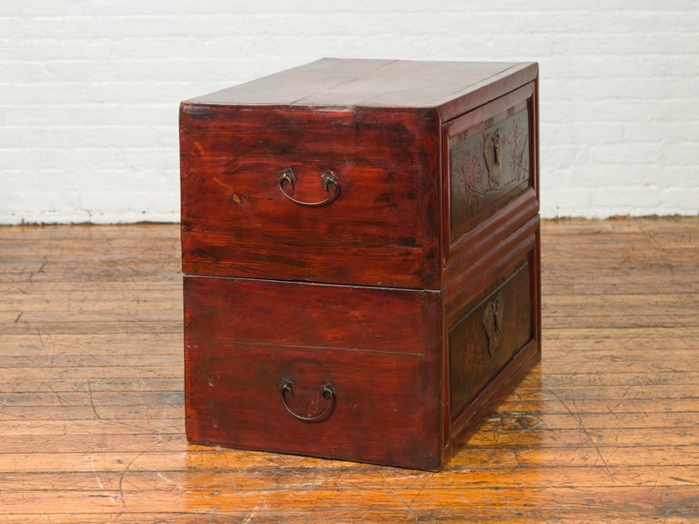 Chinese Red and Black Lacquered Two-Part Storage Cabinet with Bronze Hardware For Sale 8