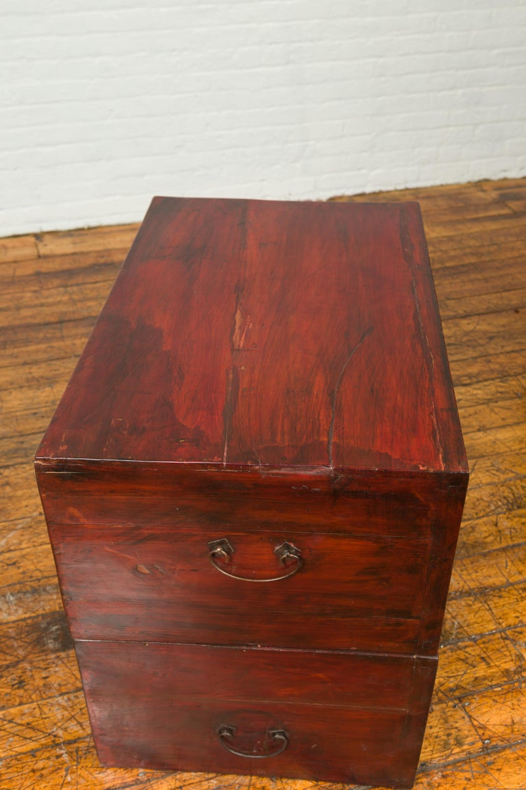 Chinese Red and Black Lacquered Two-Part Storage Cabinet with Bronze Hardware For Sale 9