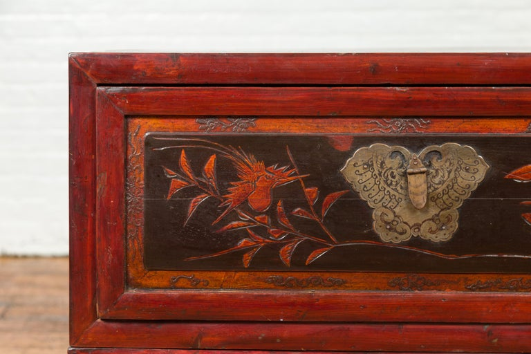 Chinese Red and Black Lacquered Two-Part Storage Cabinet with Bronze Hardware In Good Condition For Sale In Yonkers, NY