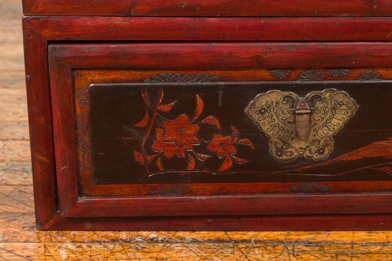 20th Century Chinese Red and Black Lacquered Two-Part Storage Cabinet with Bronze Hardware For Sale
