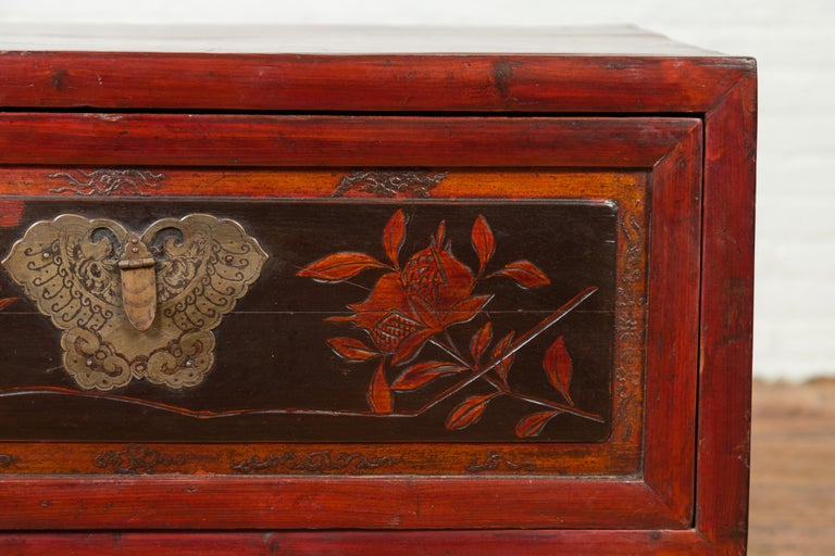 Wood Chinese Red and Black Lacquered Two-Part Storage Cabinet with Bronze Hardware For Sale