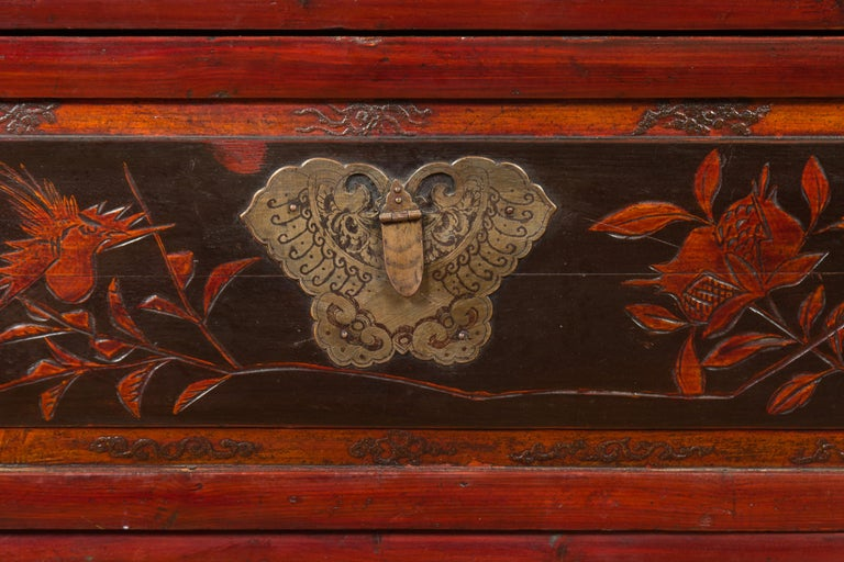 Chinese Red and Black Lacquered Two-Part Storage Cabinet with Bronze Hardware For Sale 2