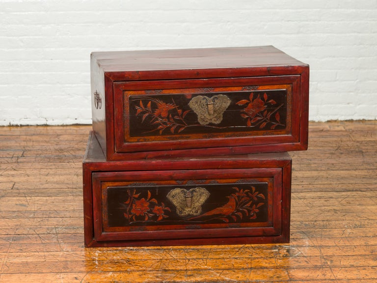 Chinese Red and Black Lacquered Two-Part Storage Cabinet with Bronze Hardware For Sale 3