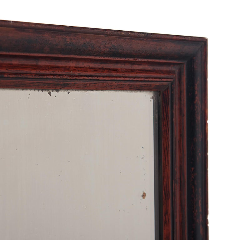 Qing Chinese Red and Black Spoiled Glass Mirror For Sale
