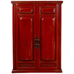 Chinese Red Cabinet with Doors and Hidden Drawers and Distressed Gold Accents