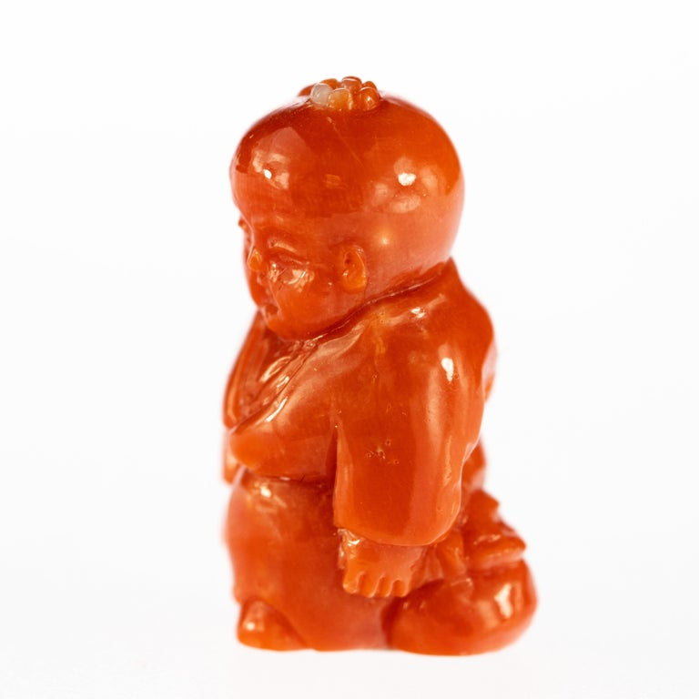 Chinese Export Chinese Red Coral Monk Hand Carved Asian Art Taiwan Statue Sculpture For Sale