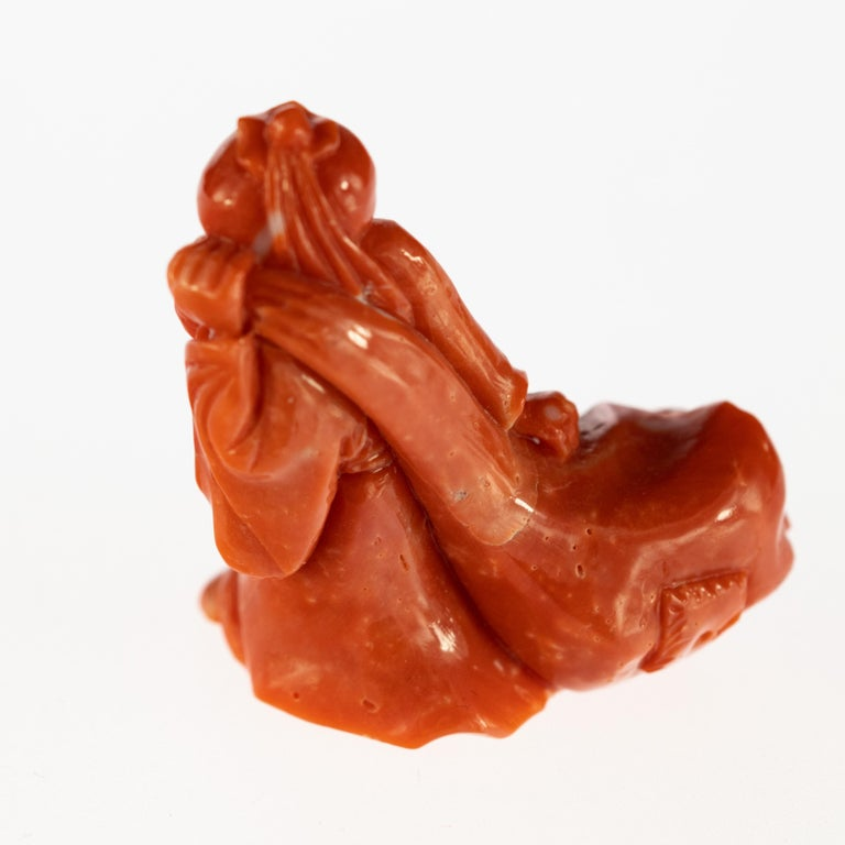 Chinese Export Chinese Red Coral Monk Hand Carved Asian Art Taiwan Statue Sculpture