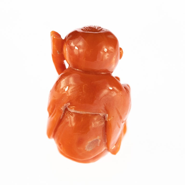 Taiwanese Chinese Red Coral Monk Hand Carved Asian Art Taiwan Statue Sculpture For Sale