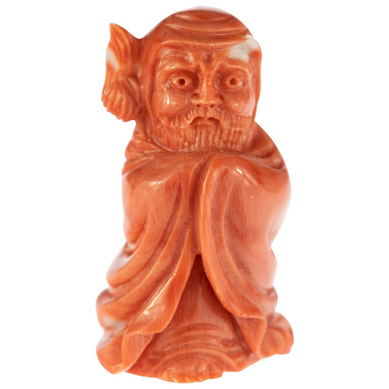 Chinese Red Coral Monk Hand Carved Asian Art Taiwan Statue Sculpture For Sale
