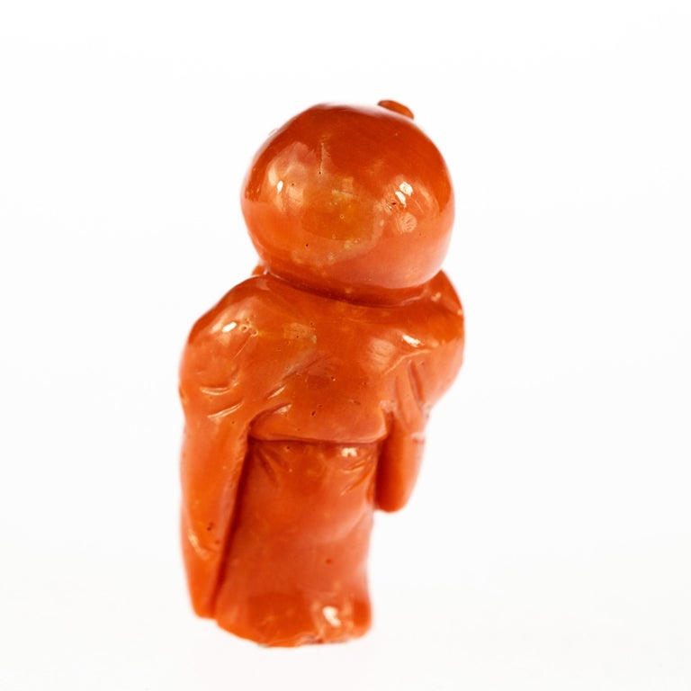 Taiwanese Chinese Red Coral Peasant Hand Carved Asian Art Taiwan Statue Sculpture For Sale