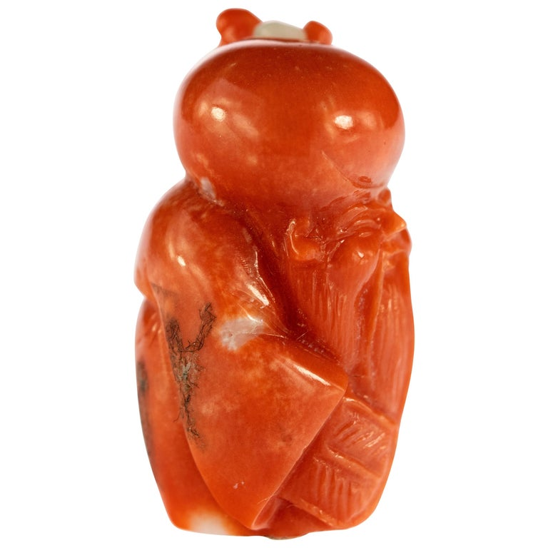 Chinese Red Coral Peasant Hand Carved Asian Art Taiwan Statue Sculpture For Sale