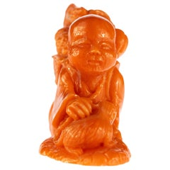 Chinese Red Coral Peasant Hand Carved Asian Art Taiwan Statue Sculpture