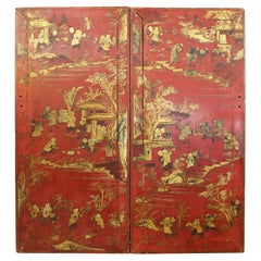 Chinese Red Lacquer and Gilt Decor Door Panels