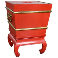 Chinese Red Lacquer & Brass Side Table Removable Ice Chest Style Hoof Foot Base