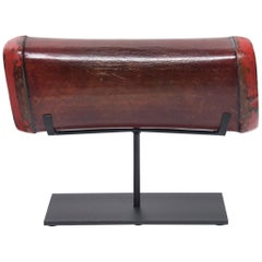 Chinese Red Lacquer Hide Headrest, circa 1850