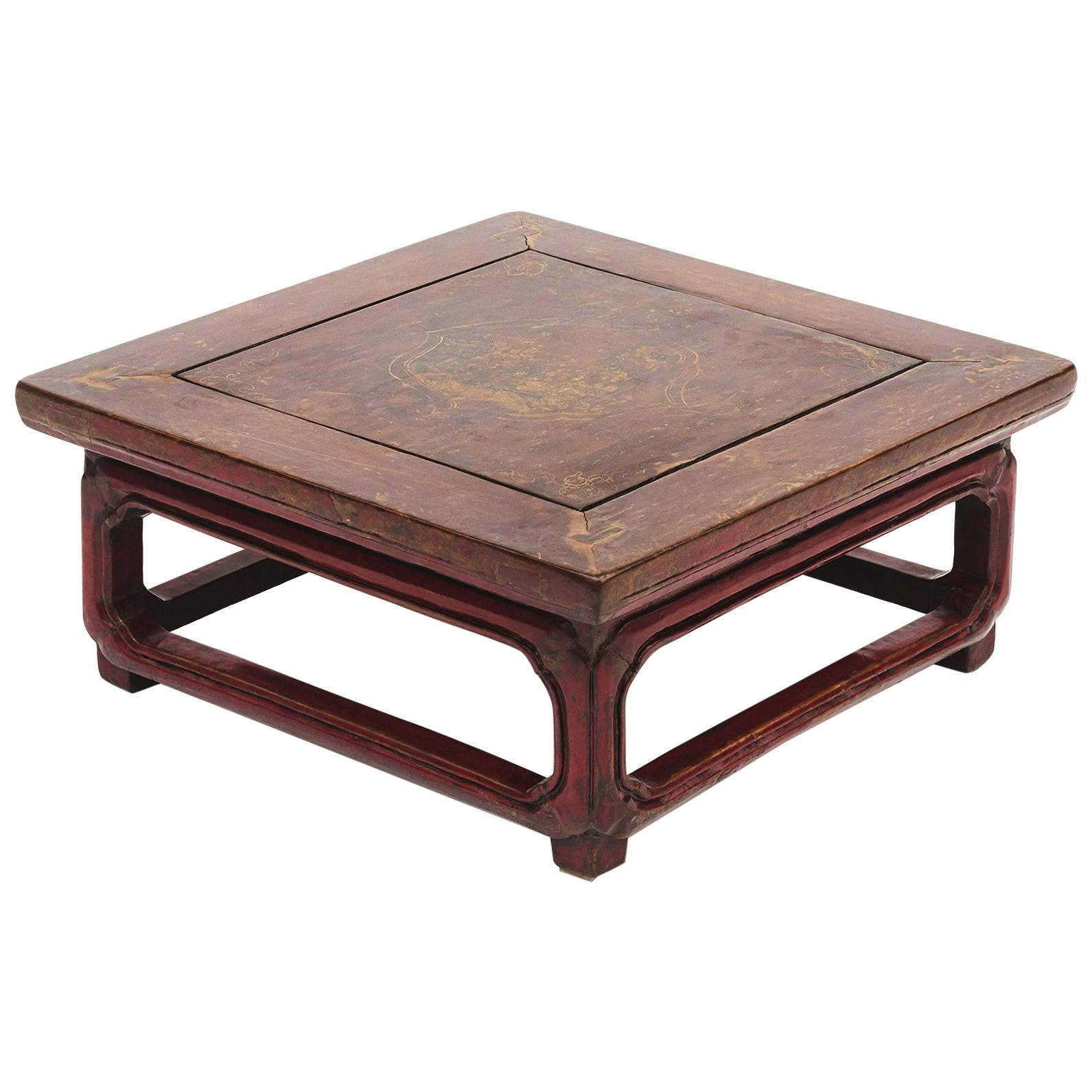 Chinese Red Lacquer Kang Table, Manchuria, 1850-1870